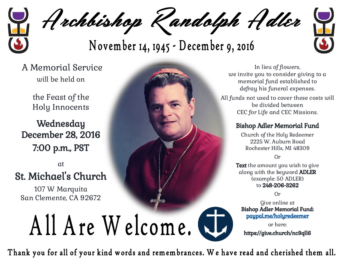 Bishop Adler Memorial Flier